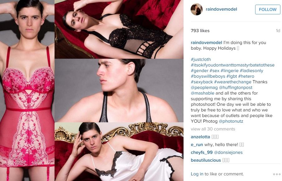 YOUTUBE Rain Dove modella androgina che Victoria's Secret...