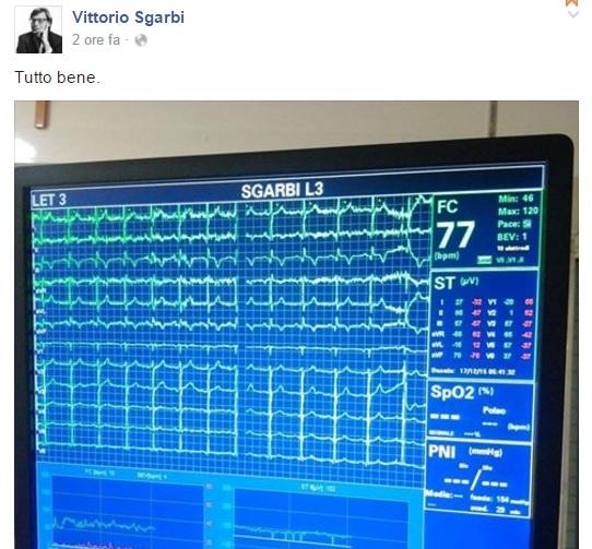 """Vittorio Sgarbi, foto elettrocardiogramma su Fb: """"Tutto ok"""""""