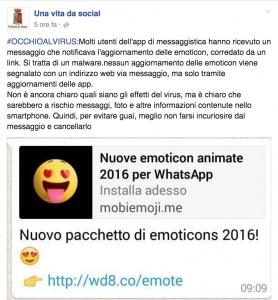 WhatsApp, aggiornamento emoji. Attenzione: è un virus