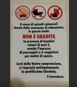"""Guarda la versione ingrandita di Ristorante di Roma: """"Vietato l'ingresso ai bambini"""" FOTO"""