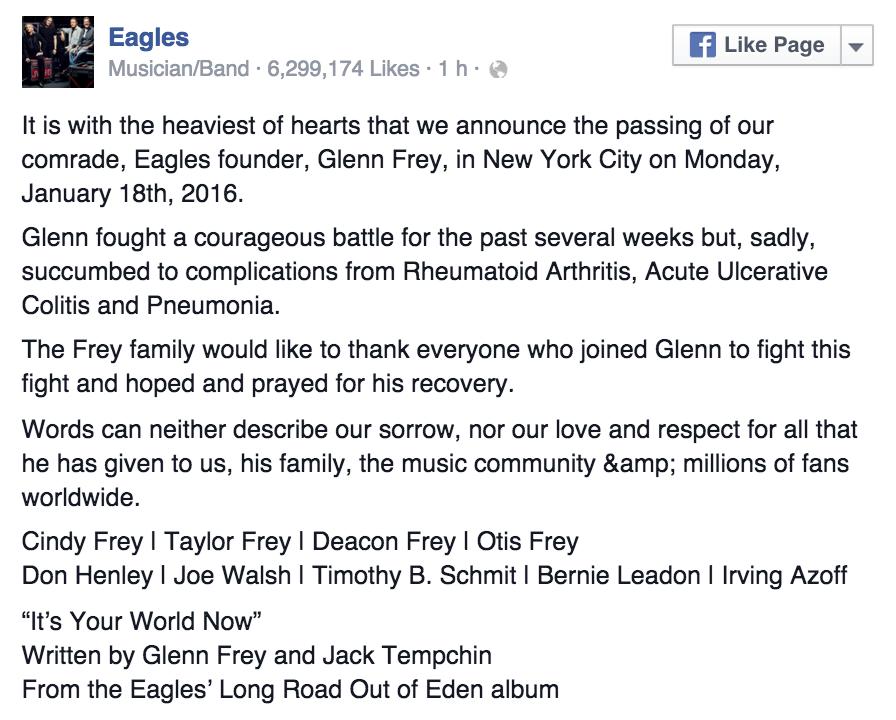 Glenn Frey è morto. Addio al fondatore degli Eagles