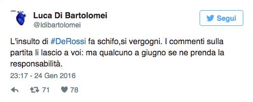 Luca Di Bartolomei attacca De Rossi