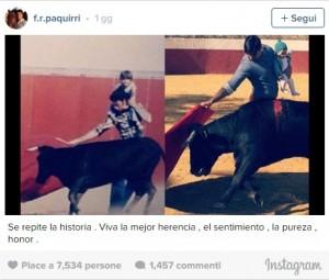 """Torero in arena con figlioletta: """"Tradizione familiare"""