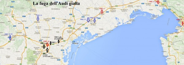 Audi gialla: caccia in Veneto e nel Nord. Mappa spostamenti