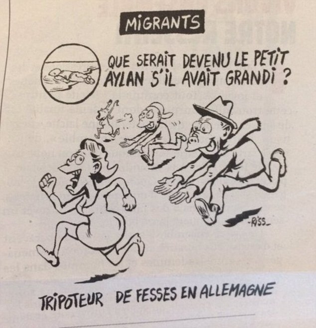 "Charlie Hebdo: ""Aylan da grande? Molestatore a Colonia"" FOTO"