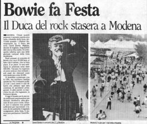 YOUTUBE David Bowie a Modena nel '90: il concerto flop