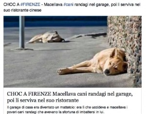 """La notizia bufala pubblicata su Facebook: """"Macellava cani in garage e li serviva nel suo ristorante cinese"""""""