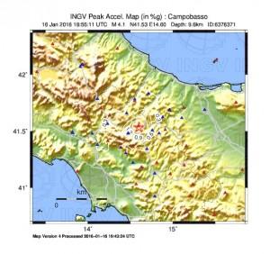 Guarda la versione ingrandita di La scossa più forte alle 19.55 di sabato, con magnitudo 4.1 ed epicentro a Baranello