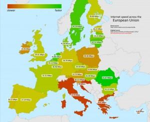 Guarda la versione ingrandita di La classifica europea per velocità di connessione: + verde = + veloce, + rosso = + lento (clicca sull'immagine per ingrandirla)