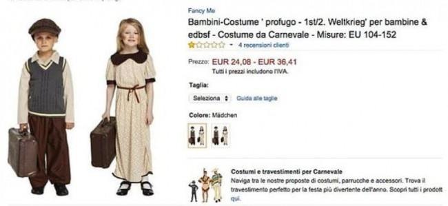 Carnevale, vestito piccolo profugo su Amazon: FOTO ritirata