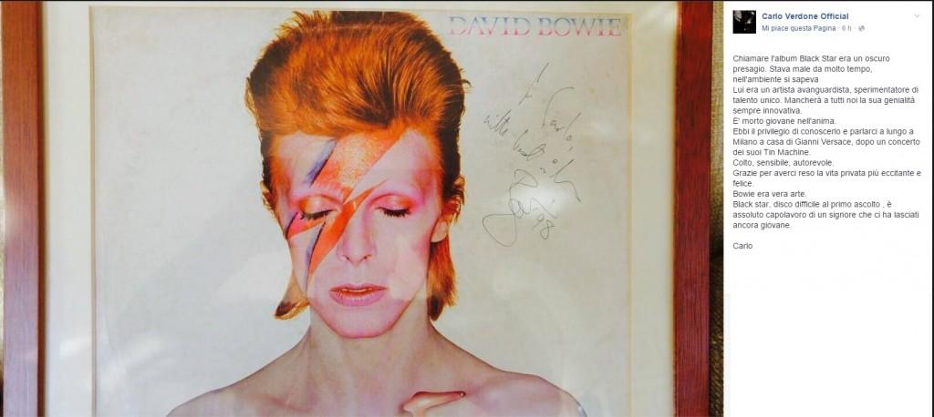 """David Bowie, Verdone: """"Una notte con lui a parlare di arte"""