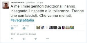 """Guarda la versione ingrandita di Beatrice Dondi: """"Fascisti vanno menati"""". Insulti su Twitter"""