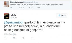 """Maurizio Gasparri minacciato su Twitter: """"Due pallottole nelle ginocchia"""". Screenshot del tweet di q9c9p"""