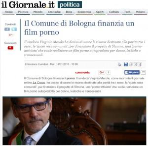"""""""Film porno finanziato dal…Comune di Bologna"""": Il Giornale"""