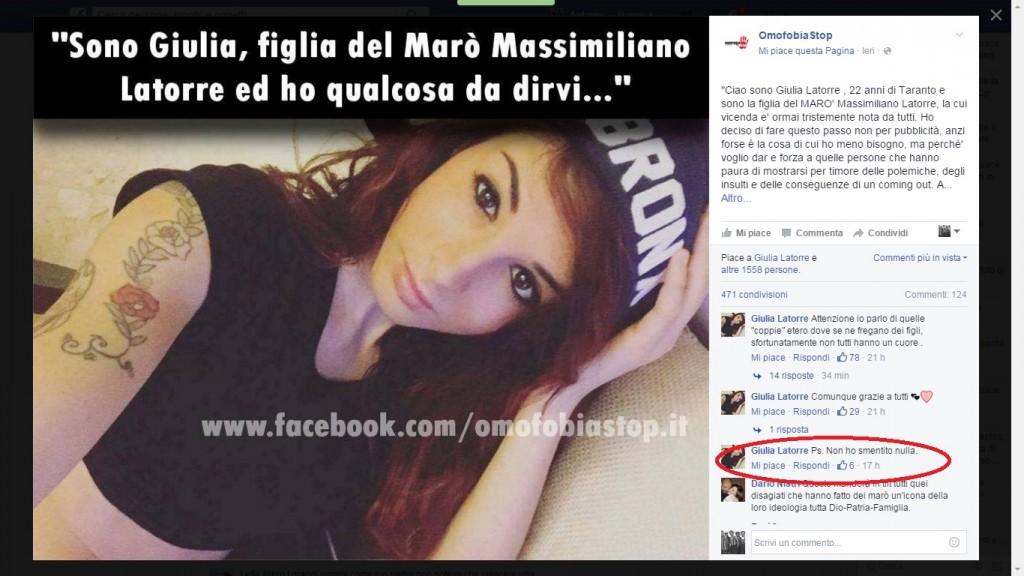 Giulia Latorre: sono lesbica. Coming out e nessuna smentita