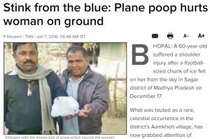India, ghiaccio con feci cade dal cielo: ferita una donna