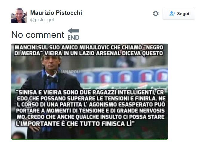 Le parole di Roberto Mancini dopo Lazio-Arsenal riportate su Twitter dal giornalista Maurizio Pistocchi