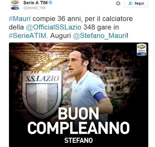 """""""Auguri Stefano Mauri"""", critiche per post della Lega Calcio"""