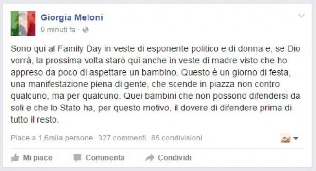 """Gi Meloni al Family Day: """"Aspetto un bambino"""""""