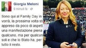 Guarda la versione ingrandita di Giorgia Meloni al Family Day: