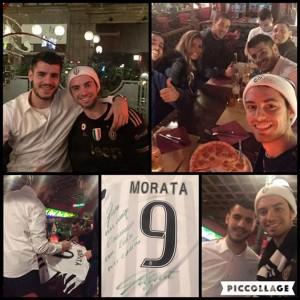 Guarda la versione ingrandita di Alvaro Morata a cena con tifoso conosciuto poco prima FOTO