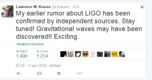 Onde gravitazionali scoperte? Tweet dall'Arizona dice...