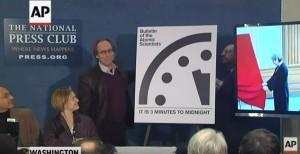 YOUTUBE Orologio apocalisse, mancano 3 minuti a mezzanotte
