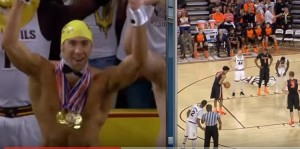 YOUTUBE Michael Phelps si spoglia durante gara basket e...