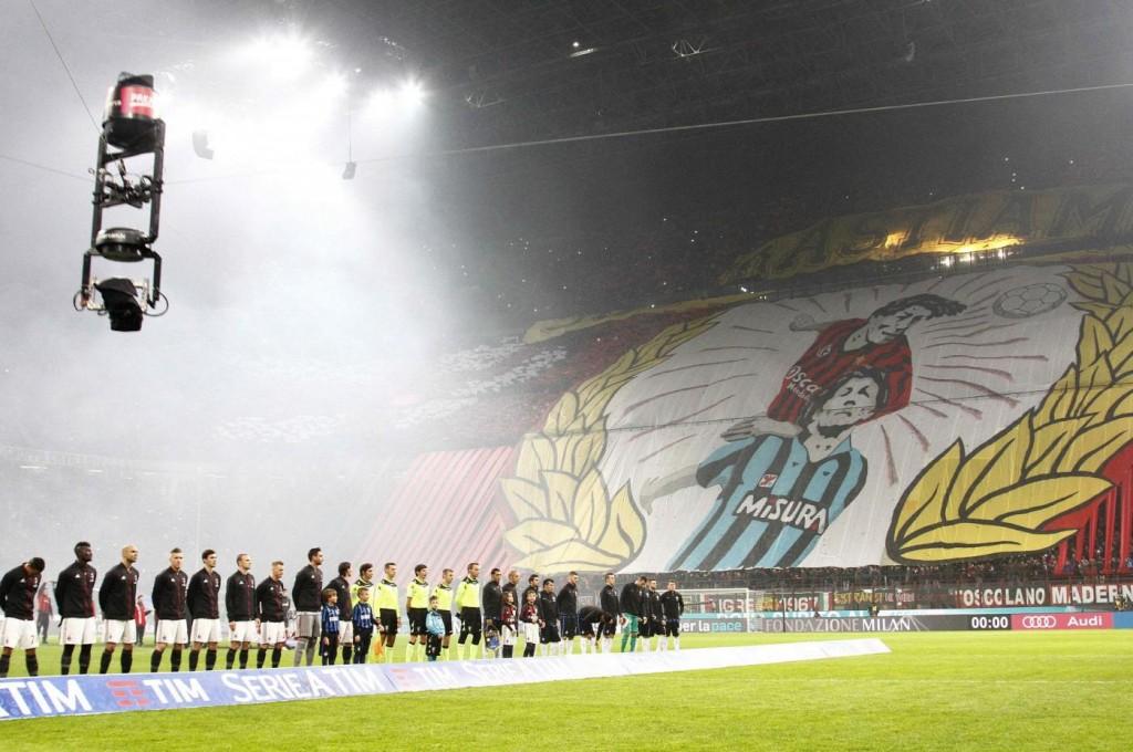 Milan - Inter, striscioni-coreografie derby (foto LaPresse)