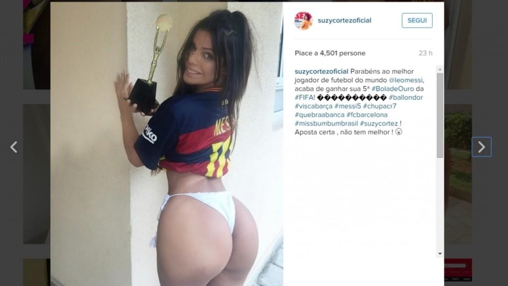Suzy Cortez, Miss Bum Bum festeggia Pallone d'Oro Messi FOTO3