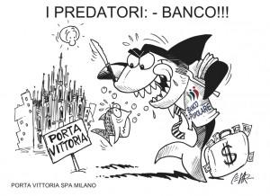 Guarda la versione ingrandita di La vignetta dei manifesti della Immobiliare Porta Vittoria: la banca è rappresentata come uno squalo che vuol mangiare i clienti raffiguraticome pesci