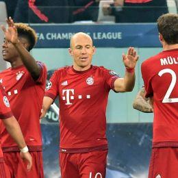 Bayern esulta dopo il gol nella foto Ansa