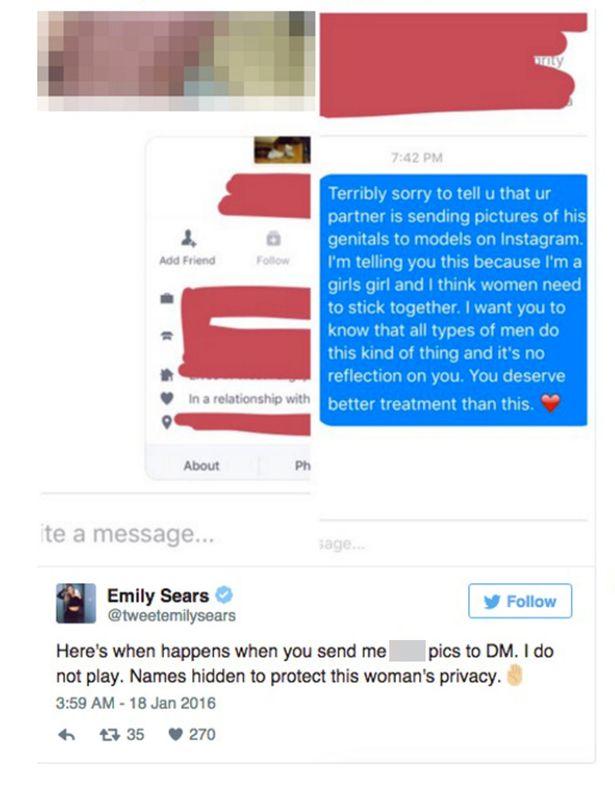 Emily Sears riceve FOTO peni: sexy modella si vendica3