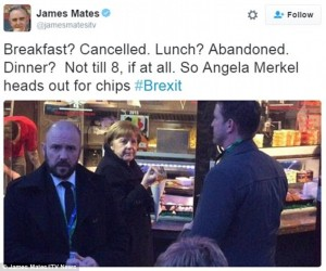 Patatine fritte per Merkel, gamberetti e avocado per Cameron