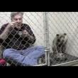 Pitbull non mangia veterinario entra in gabbia7