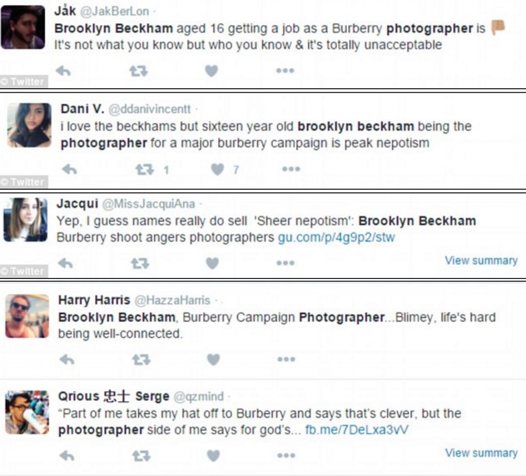 "Brooklyn Beckham fotografo Burberry a 16 anni. ""Nepotismo"" 7"