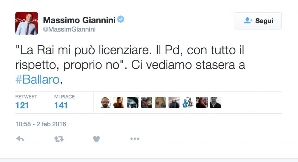 """2Ballarò, Giannini: """"La Rai mi può licenziare, il Pd no"""