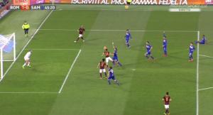 Guarda la versione ingrandita di Roma - Sampdoria, il gol di Florenzi nelle immagini tv di Mediaset Premium
