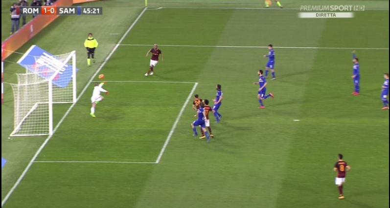 Roma - Sampdoria, il gol di Florenzi nelle immagini tv di Mediaset Premium