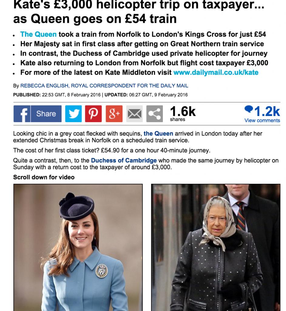 Kate Middleton, critiche Gb: lei elicottero, regina in treno