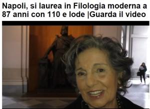 Anna Valanzuolo Carcaterra si laurea a 88 anni con 110 e lode