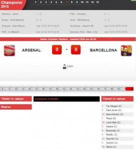 Arsenal-Barcellona: diretta live su Blitz con Sportal