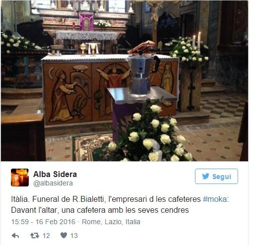 Renato Bialetti, ceneri in una Moka...FOTO funerale