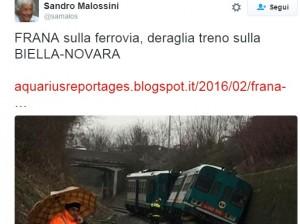 YOUTUBE Treno deraglia tra Biella e Novara per la pioggia