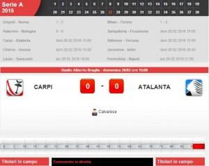 Carpi-Atalanta: diretta live su Blitz con Sportal