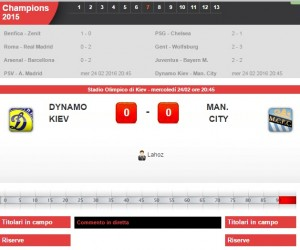 Dinamo Kiev-Manchester City: diretta live su Blitz con Sportal