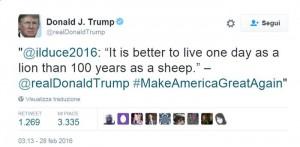 """Trump cita Mussolini, ingannato da un profilo """"trappola"""""""