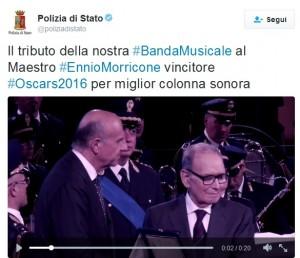 Ennio Morricone premiato dalla banda della Polizia