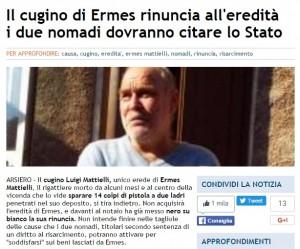 Guarda la versione ingrandita di Ermes Mattielli, cugino rinuncia eredità: ora i 2 nomadi...