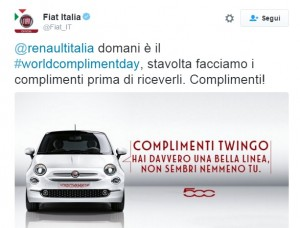 Fiat sfotte Renault su Twitter. Twingo come 500 e...FOTO